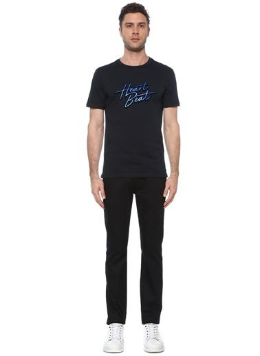 NetWork Erkek 1074382 Slim Fit Baskılı T-shirt Lacivert